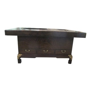 Japanese Dark Wood Grain Hibachi Coffee Table With Drawers For Sale