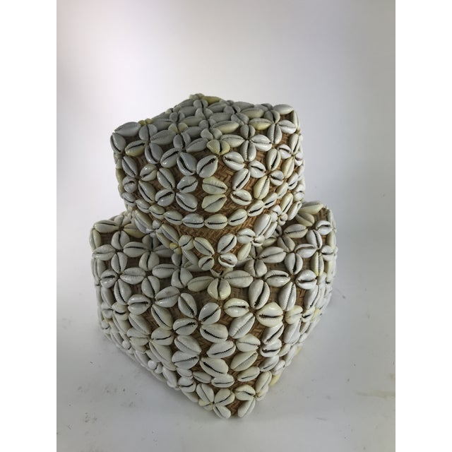 1970s Vintage Cowrie Shell Covered Baskets - A Pair For Sale In Los Angeles - Image 6 of 10