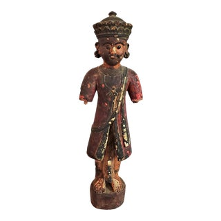 Early 20c Cambodian Polychrome Male Figurine For Sale