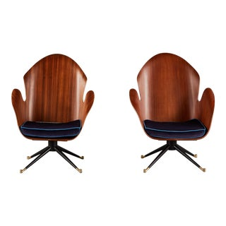Rare and Sculptural Pair of Mid-Century Italian Swivel Chairs