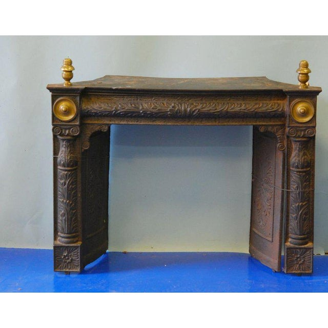 Traditional American Federal Cast Iron and Brass Fireplace Insert Mid 19th C. For Sale - Image 3 of 3