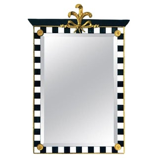 Hollywood Regency Mirror With Gold Leaf Plumes and Ceramic Tiles For Sale