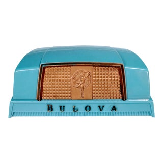 1930s Art Deco Bulova Blue Plastic Watch Box
