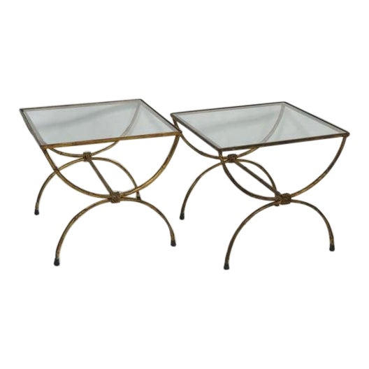Hollywood Regency Gilt Iron Side Tables - Pair - Image 1 of 4