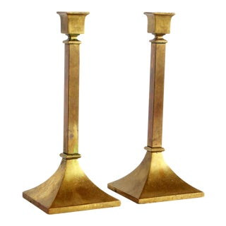 Vintage Art Deco Brass Candlesticks - a Pair For Sale