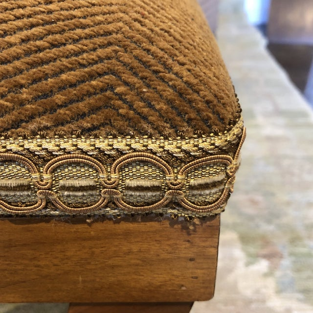 1990s Italian Upholstered Walnut Bench For Sale - Image 5 of 11