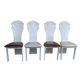 Italian Eighties Deco Scallop-Back Lacquer Dining Chairs Set of 4 For Sale