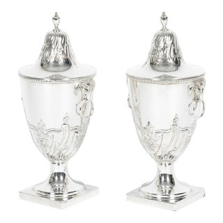 Old English Sheffield Silver Plate Covered Urns - a Pair For Sale