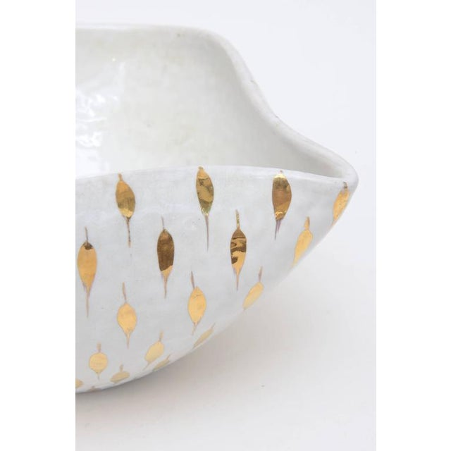 Metal Aldo Londi for Bitossi Gold Painted White Ceramic Bowl Vintage For Sale - Image 7 of 11