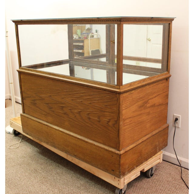Antique Oak & Glass Mirrored Display Case - Image 8 of 11