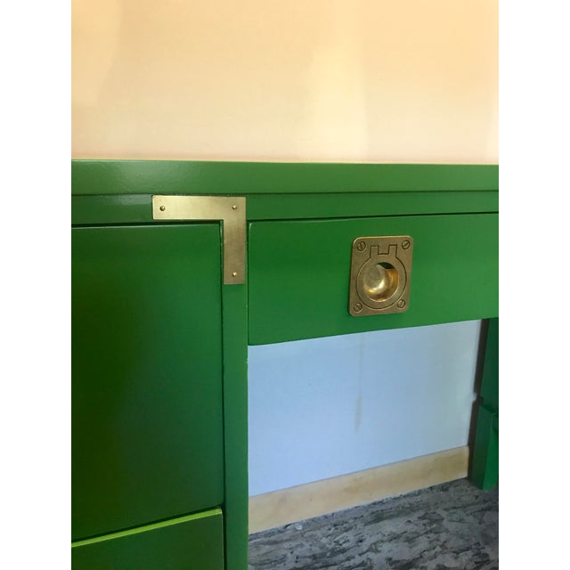 1960s Green Lacquered Campaign Desk For Sale - Image 5 of 9