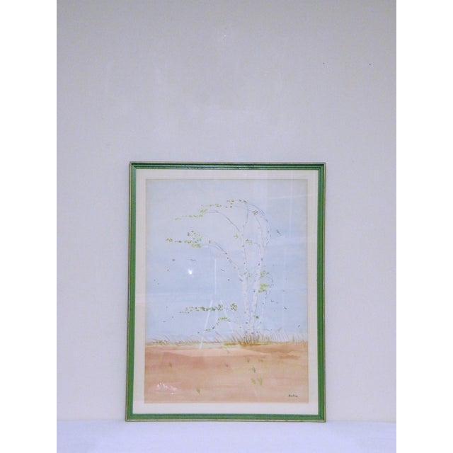 Vintage Mid-Century Gusty Birch Tree Landscape Watercolor Painting For Sale - Image 4 of 4