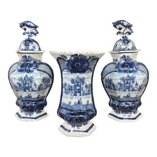 Set of Three 18th Century Delft Blue & White Vases For Sale