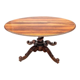 Anglo Indian Oval Rosewood Center Table/Breakfast Table With Carved Pedestal Base For Sale