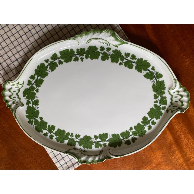Vintage 1950s Meissen Porcelain Grape Vine Scalloped Platter For Sale - Image 9 of 9