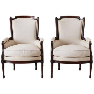 Pair of Maison Jansen Louis XVI Style Walnut Bergères For Sale