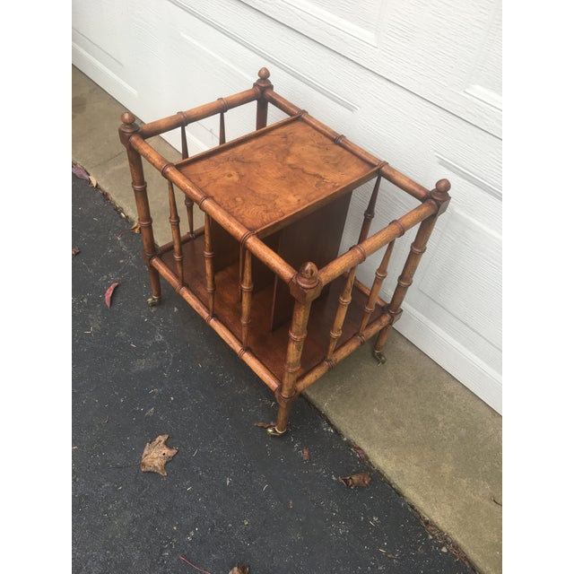 Vintage Burl Wood Bamboo Side Table Magazine Rack For Sale - Image 10 of 11