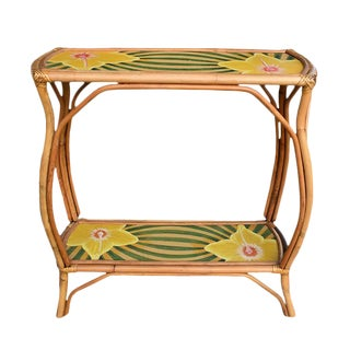 1970'a Bamboo Painted Floral Shelves For Sale