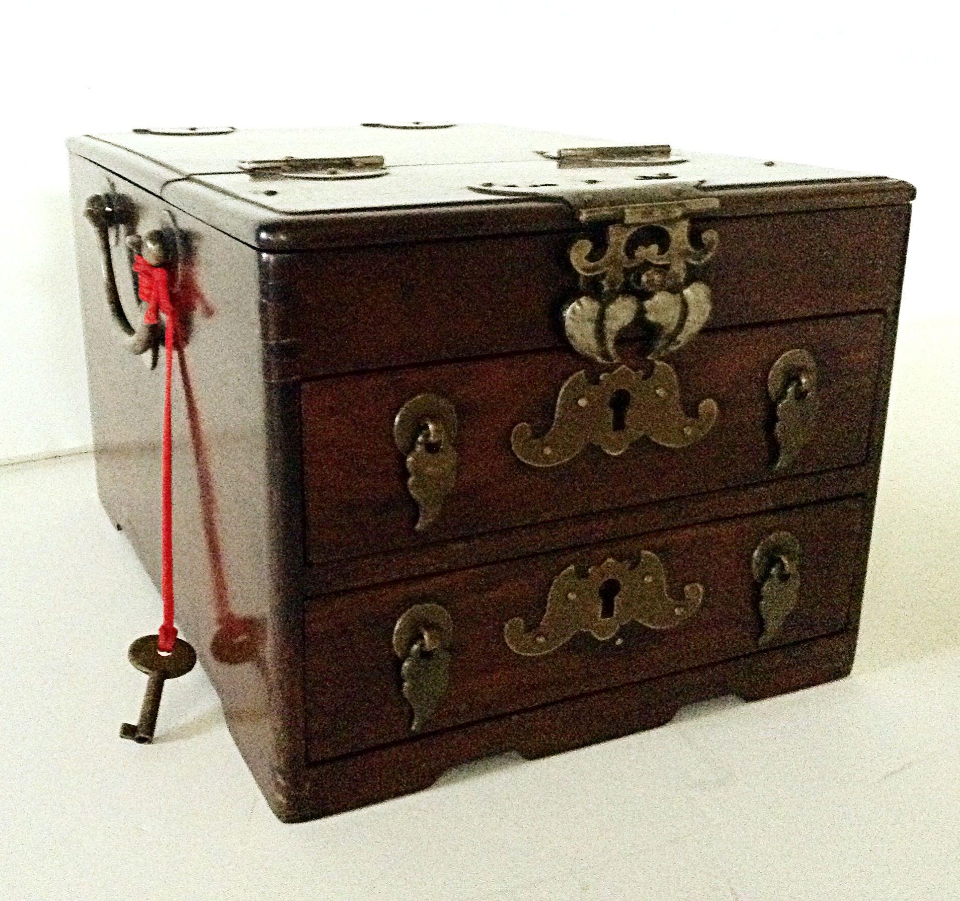 19th Century Chinese Jewelry Box wDressing Mirror Chairish