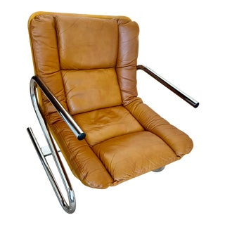 Midcentury Modern Cantilever 1970s Leather & Chrome Accent or Office Chair For Sale