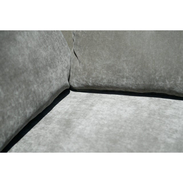 Down Filled Silver Velvet Sculptural Sofa - Image 6 of 9