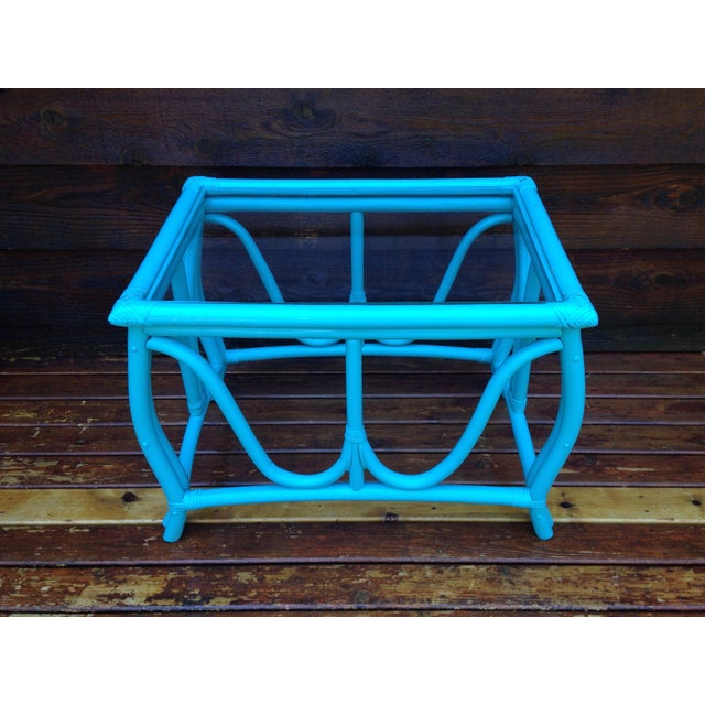 Blue Vintage Rattan Table - Image 2 of 7