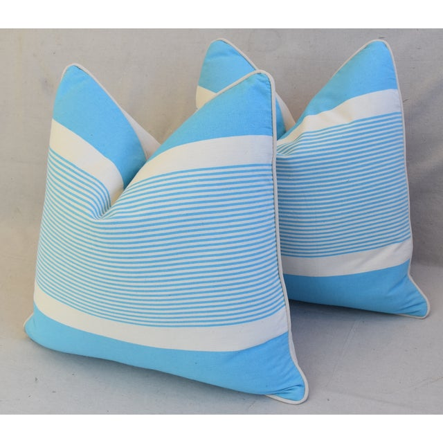 """Bone French Blue & White Nautical Striped Feather/Down Pillows 22"""" Square - Pair For Sale - Image 7 of 13"""