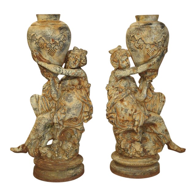 Beautiful Pair of Antique Cast Iron Figural Garden Urns For Sale