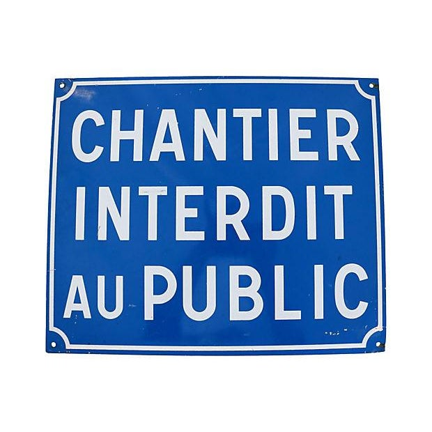 Vintage French Enamel Closed to Public Sign - Image 1 of 2