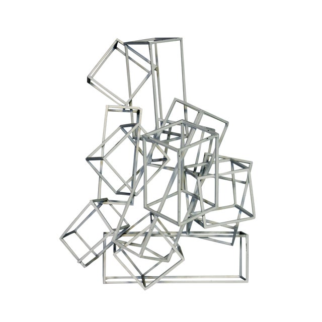 Geometric Metal Boxes Sculpture - Image 1 of 7