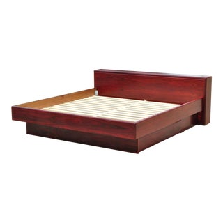Late 20th Century Rosewood Mid Century Danish Modern King Size Platform Storage Bed by Mobican For Sale