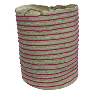 Moroccan Fuchsia Straw Hamper For Sale