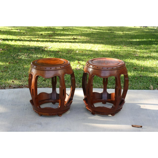 Vintage Asian Rosewood Drum Stools - A Pair - Image 11 of 11