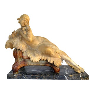 Italian Art Deco Alabaster and Marble Reclining Muse on a Lion Bench Sculpture For Sale