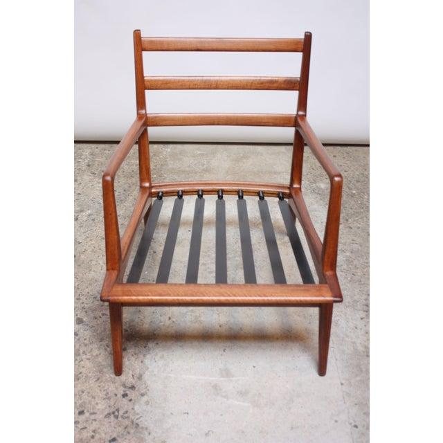 Animal Skin Italian Modern Carlo De Carli Walnut and Leather Lounge Chair and Ottoman For Sale - Image 7 of 13