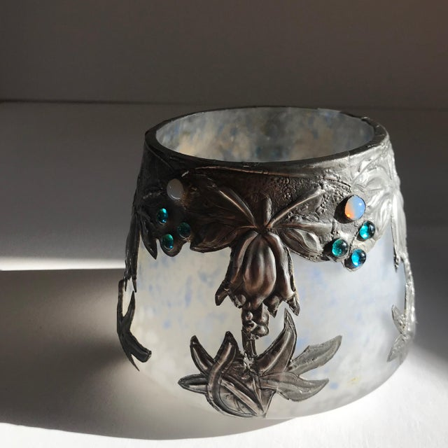 Art Deco Art Glass Vase With Silvered Metal Overlay For Sale - Image 3 of 7