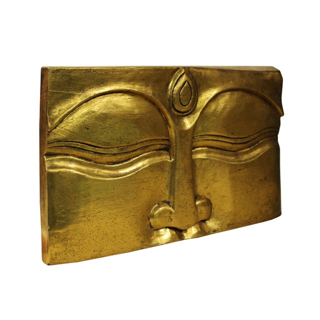 Asian Buddha's Eye Of Wisdom Gold Wood Craving Wall Decor For Sale - Image 3 of 5
