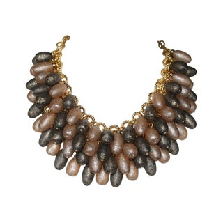 Francoise Montague Grey and Gold Madrilene Necklace For Sale