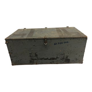 Vintage Industrial Gray Military Wood Foot Locker With Tray For Sale