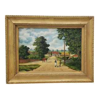 """Early 20th Century """"Country Road Landscape W/ Figures"""" Oil Painting by H. Mallett For Sale"""