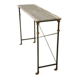Stainless & Bronze Console Table For Sale