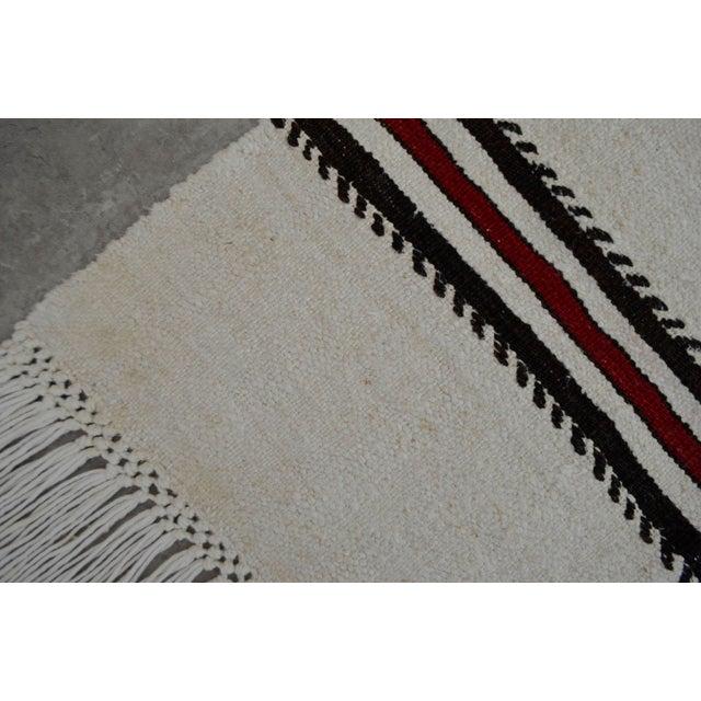 Vintage Natural Turkish Cotton Stripe Kilim Rug - 4′7″ × 7′9″ For Sale - Image 9 of 9