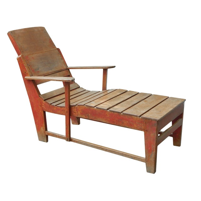 1900 - 1909 Late 19th C. Primitive Painted Chaise For Sale - Image 5 of 11