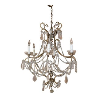 Italian Iron Crystal Chandelier For Sale