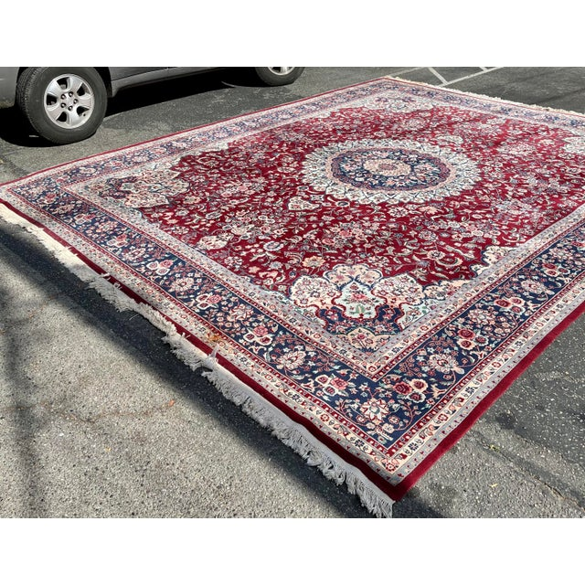 Textile 1990s Huge 12 by 16 Vintage Hand Made Persian Wool Rug For Sale - Image 7 of 8