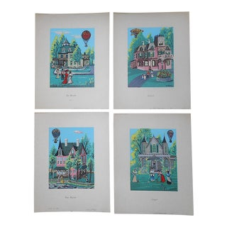 Vintage Signed Silkscreen Prints by N. Takis-Victorian Scenes With Hot Air Balloons-Set of 4 For Sale