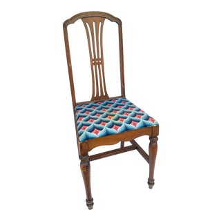 Antique Art Deco Elm Wood Accent Chair With Knitted Seat For Sale