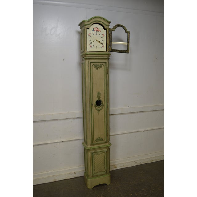 Paint 18th Century French Louis XV Period Hand Painted Long Case Clock For Sale - Image 7 of 13