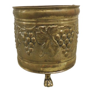 Vintage Round English Brass Planter