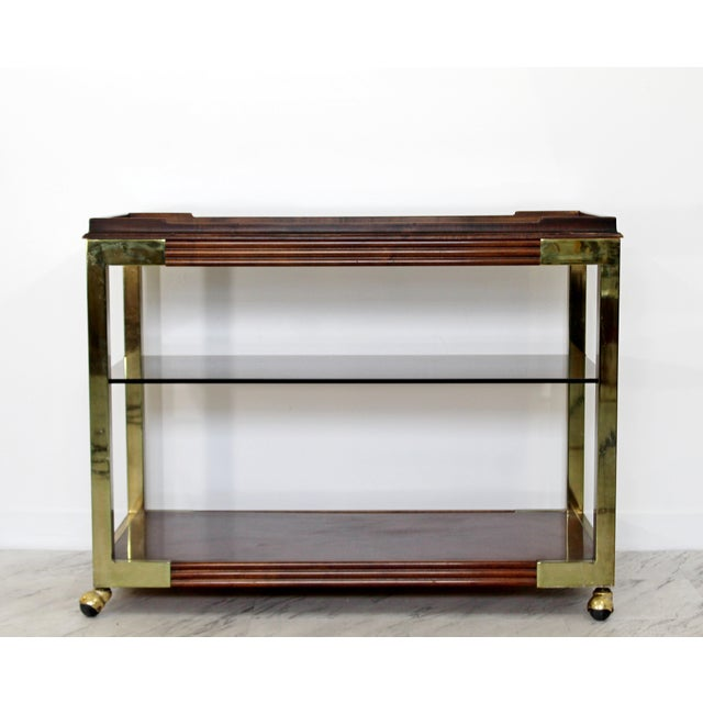 Mid-Century Modern 1960s Vintage Drexel Heritage Brass Wood 2-Tier Bar Cart For Sale - Image 3 of 12